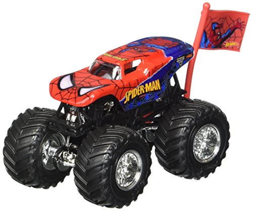 2017 Hot Wheels Monster Jam 1:64 Scale Truck with Team Flag - Spider-Man