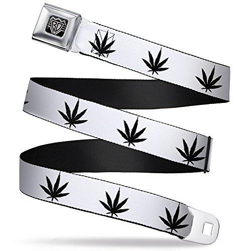 Buckle-Down Buckle-Down Seatbelt Belt Weed XL Accessory, -Marijuana Leaf Outline/Hemp, 32-52 - Weed Outline Leaf