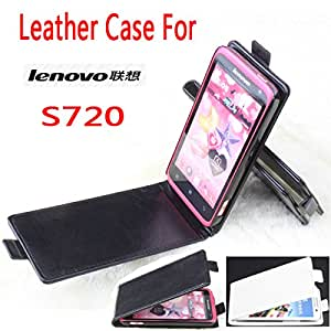 High Quality New Original Lenovo S720i Leather Case Flip Cover for Lenovo S 720 i Case Phone Cover In Stock Free Shipping --- Color:Black