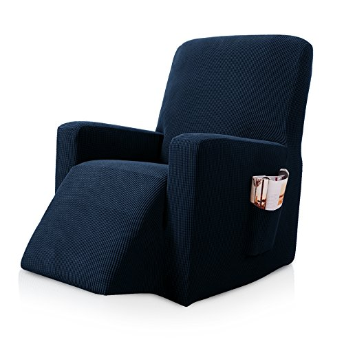 Subrtex Stretch Recliner Chair Slipcover Furniture Protector Lazy Boy Covers for Leather and Fabric Recliner Sofa with Side Pocket (Recliner, Navy)