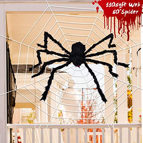 Joyjoz Halloween Decorations with 110 Sqft Giant Spider Web, 60