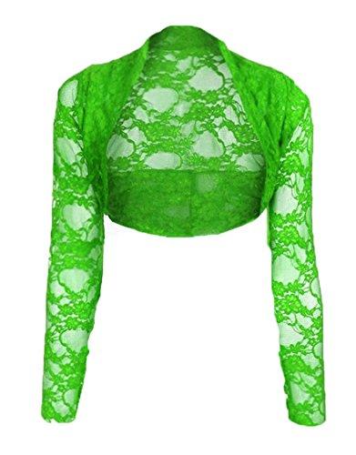 55edd3ce75f8ad Trendy Womens Women's Lace Cropped Bolero Shrug Cardigan Top (Apple Green,  Small/Medium)