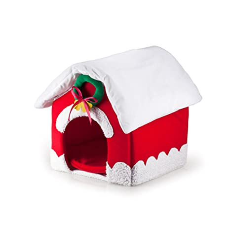 YQQ Suministros De Mascotas Nido De Gato Perrera Nido De Mascotas Linda Casa De Navidad Casa