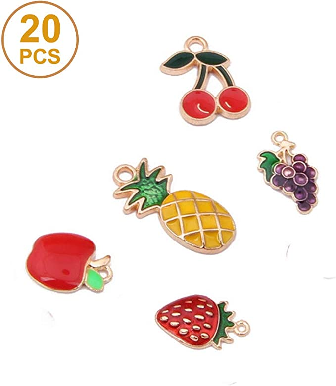 10Pcs Fruit Mixed Enamel Cherry Strawberry Pendants Charm DIY Bracelet Earring