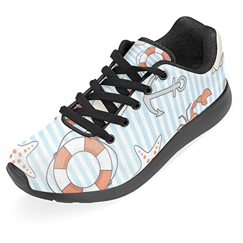 InterestPrint Womens Jogging Running Sneaker Lightweight Go Easy Walking Casual Comfort Sports Running Shoes Life Buoy, Crabs, Shells and Anchors Multi 1