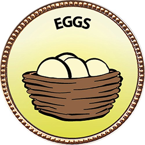 Eggs Award, 1 inch dia Gold Pin