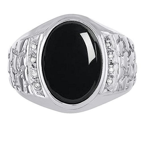 Black Onyx & Diamond Ring set in Solid 14K White Gold. Natural Onyx Special Cut for this Ring. Nugget Designer - Nugget Gold White Ring