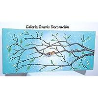 """Cuadro decorativo moderno - Pintura """"Rama de árbol Menta"""""""