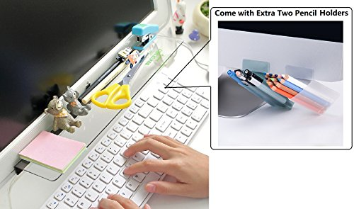Home-organizer Tech Notes Holder and Reminder Memo Board for Computer Monitors Screen Acrylic Message Boards Memo Pads with Two Small Desktop Storage Boxes Pencil Holders by Home-organizer Tech