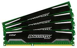 Ballistix Sport 32GB Kit (8GBx4) DDR3 1600 MT/s (PC3-12800) CL9 @1.5V UDIMM 240-Pin Memory BLS4KIT8G3D1609DS1S00
