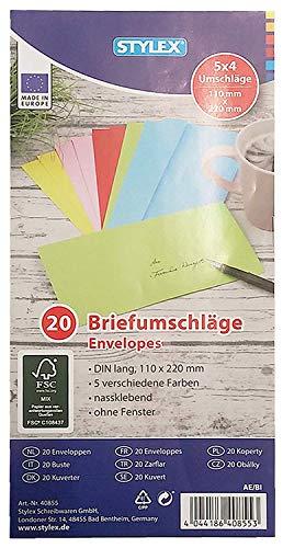 Briefumschläge, farbig, lang, DIN 680, 20 Stück