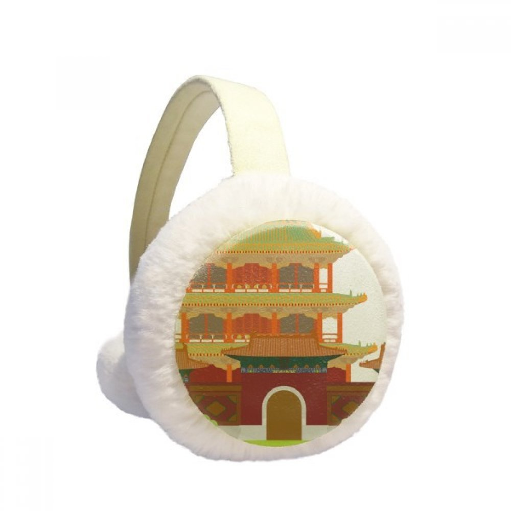 China Architecture Landmark Traditional Pattern Winter Earmuffs Ear Warmers Faux Fur Foldable Plush Outdoor Gift