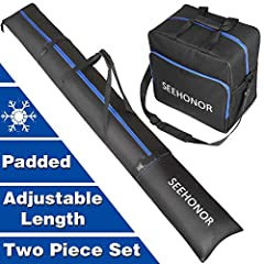 SEEHONOR Two-Piece Ski and Boot Bag Combo   Store & Transport Skis Up to 79 Inch and Boots Up to Size 13   Includes 1 Ski Bag & 1 Ski Boot Bag (Black)  Before you head up the mountain for another run, make sure you keep all your impor...