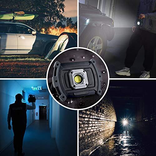 Illushine LED Work Light, 10W 1500 Lumen Rechargeable Work Lights, Portable COB Flood Lights, Waterproof LED Floodlight for Job Site Lighting, Emergency Car Repairing, Camping Hiking