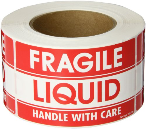 Tape Logic DL1300 Shipping and Handling Label, Legend FRAGILE - LIQUID - HANDLE WITH CARE, 5