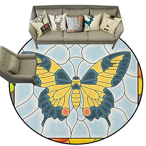 (Hedda Clare Gorgeous Circular Rug,Butterflies,Butterfly in Stained-Glass Window with Frame Wing Spring Garden Illustration, Multicolor,Welcome Mat Living Room Rug4 feet)