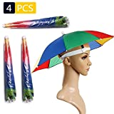 4 Pack Umbrella Hat ,  Rainbow Adult Cap Multicolor Hands With Head Strap ,  21''  Diameter Folding Waterproof Elastic Fishing Headwear For Sun ,  Rain , Beach ,  Golf ,  Hiking ,  Party Color Randomly