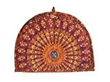Traditional Tea Cosy Decorative Orange Vintage Printed Cotton Tea Cozy, Indian Peacock Feather Print Creative Tea Cozy Mandala Cotton Decorative Tea Cosy Kettle Tea Pot Cover, Tea cozy For Teapot