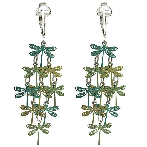 Beautiful Dangle Clip On Earrings for Women, Bohemian Drop Butterfly, Dragonfly, Leaves, Flowers (Green Dragonfly)