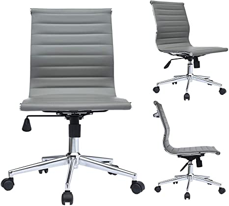 Office Task Chairs Mid-Back Armless Ribbed PU Leather Swivel Conference Chair Black Set of 2