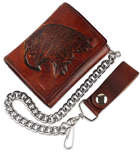 RFID Blocking Men's Tri-fold Vintage Biker Cowhide Top Grain Leather Steel Chain Wallet,Snap closure, Made In USA,at315-40,eagle head,brown