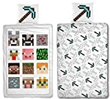 Familando Minecraft Reversible Bed Linen Set, 135 x 200 cm + 80 x 80 cm, 100% Cotton, Defeat Blocks Motif