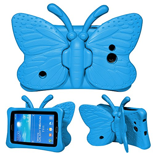 Samsung Tab 7.0 inch Tablet Case for Kids Case,Children Tablet Protection Cases for Samsung Galaxy Tab 4 7.0 Kids Case,Tab 3 Lite Case Safely Durable EVA Foam Protective Butterfly Cases (Blue) (Samsung Galaxy Tab 4 Case Art)