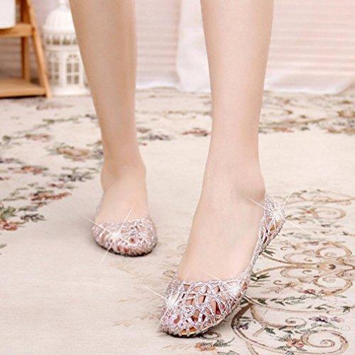 Ouneed® Flip Flops Damen Erwachsene Zehentrenner , Damen Summer Slippers Sparkling Jelly Shoes Shiny Baotou High Elastic Shoes Silber