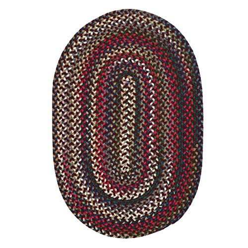 Colonial Mills Aurora Reversible Braided Accent Rug (2' x 3') - 2' x 3' Amber Rose Red, Blue, Natural made in Rhode Island