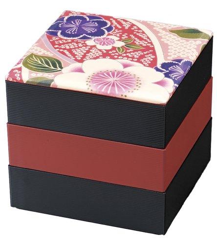 日本製 HAKOYA たつみや 布貼16.5角三段重 桜ピンク 54658