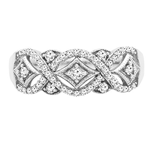 0.33 Carat (ctw) 10K White Gold Round Diamond Ladies Vintage Style Wedding Band 1/3 CT (Size 6.5) by DazzlingRock Collection (Image #3)
