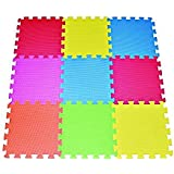 POCO DIVO Floor Mat 9-tile Multi-Color Exercise Mat Solid Foam EVA Playmat Kids Safety