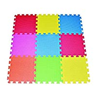 POCO DIVO Floor Mat 9-tile Multi-Color Exercise Mat Solid Foam EVA Playmat Ki...