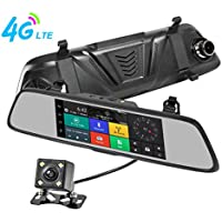 TekBow 4G Car DVR Dash Cam Dual Camera 7 Touch Wifi Android GPS Navigation HD 1080P Rearview Mirror Video Recorder 170 Degree Wide Angle with Night Vision, G-sensor, WDR, 32GB Micro SD Card Included