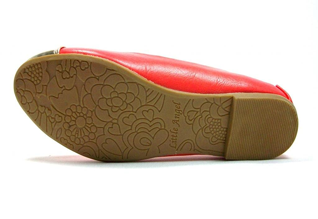New Little Toddler Girls Coral Leatherette Slip on Flats feat Gold Cap Toe /& Studded Heel