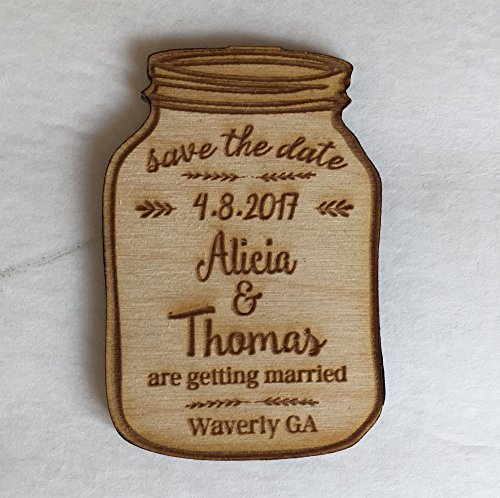 25 Mason Jar Save the Date Magnets - Wedding