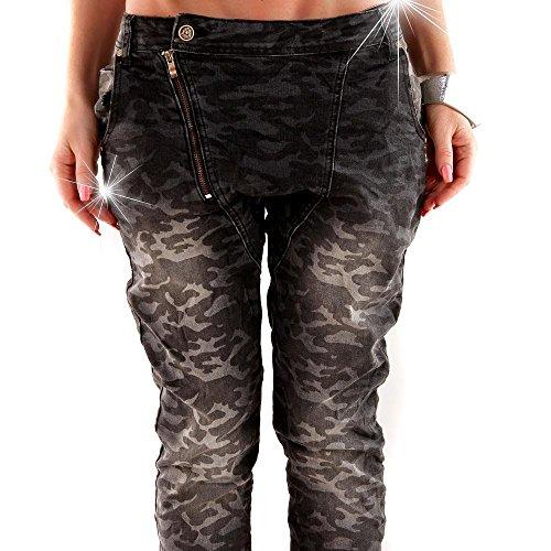 Dunkel Boutons Skinny Éclair Push Grau Femme Jeans Et Up Fermeture Optik Tarn Baggy Pour EyqcwvAc6