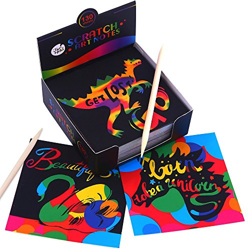 Jar Melo Scratch Art Notes; 130 Sheets; With 2 Wooden Stylus; Rainbow Mini Notes; 4 kinds of pattens as backgrounds; Scratch Magic NotesNotes; Scratch Magic Notes