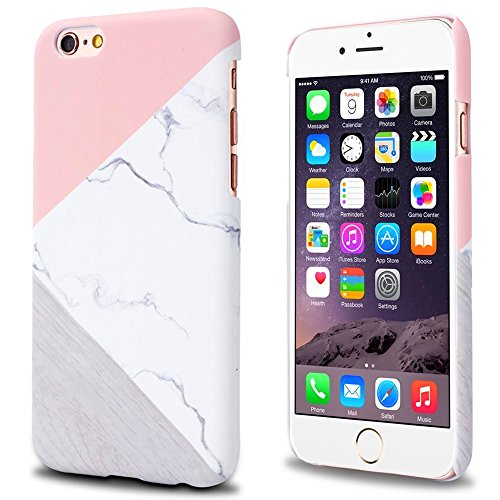iPhone 6 Plus / 6s Plus case Marble, Jwest Geometric Slim-fit Shockproof Anti-Scratch &Fingerprint Anti-slip Matte Hard Case with Excellent Grip For iPhone 6 6S Plus [5.5 inch ] - Pink Marble Design