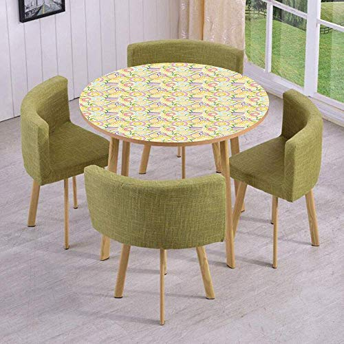 SINOVAL Fashion Round Table/Wall/Floor Decal Strikers/Removable/Ornamental Zentangle Pattern Ethnic Floral Arrangement Eastern Cultures Decorative