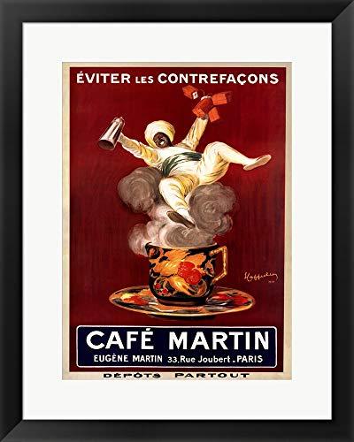 Cafe Leonetto Cappiello - Cafe Martin by Leonetto Cappiello Framed Art Print Wall Picture, Black Frame, 20 x 25 inches