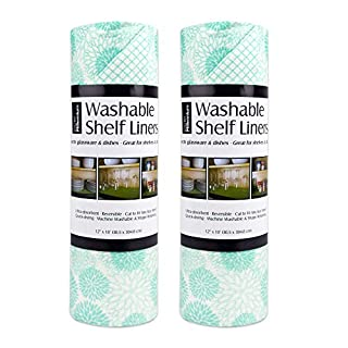"DII Non Adhesive Cut to Fit Machine Washable Shelf Liner Paper For Cabinets, Kitchen Shelves, Drawers,  Set of 2, 12 x 10"" - Aqua Dahlia"