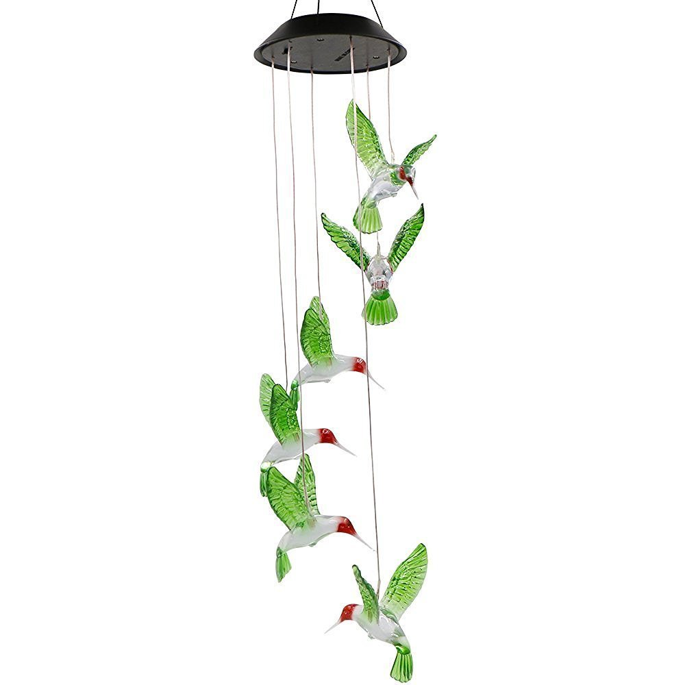 Best Horse Color-Changing Led Solar Mobile Wind Chime, Solar Powered LED Hanging Lamp Wind Chime Light for Outdoor Indoor Gardening Lighting Decoration Home (Hummingbird)