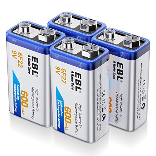 - EBL 9 Volt Rechargeable Batteries Lithium ion 9V 600mAh Li-ion Batteries (4-Packs)