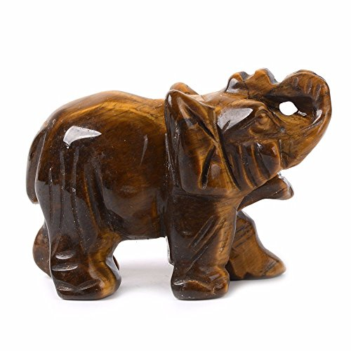 Carved Natural Golden Tiger's Eye Gemstone Elephant Healing Guardian Statue Figurine Crafts 2 inch
