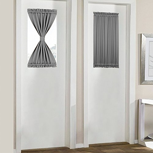 PANOVOUS Grey French Door Curtains for Small Windows Elegant Curtains for Door Window Sidelight Curtain Grey 25x40 Inch 1 Panel