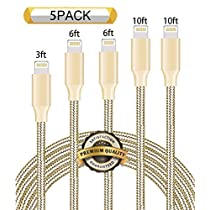 Nutmix iPhone Cable 5Pack 3FT 6FT 6FT 10FT 10FT