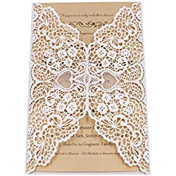 FOMTOR Laser Cut Invitations Kit 40 Packs Laser Cut Wedding Invitations Envelopes Inside Cards Wedding,Birthday Parties,Baby Shower,Graduation (White)