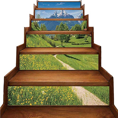 TecBillion Apartment Decor Nice Stairs Sticker,Spring Scenery in Alps with Floral Grass and Snowy Mountain Tops in Rural Village Photo for Home,39.3
