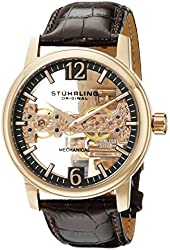 Stuhrling Original Men's 841.03 Symphony Aristocrat Cardinal Mechanical Rose Gold-Tone Stainless Steel Skeleton Watch